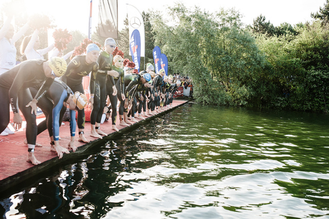 Female pro athletes at the start of Ironman 70.3 St. Pölten, Austria.